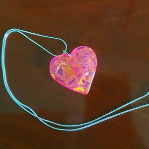 Jewelry - Hot pink opalescent heart Sterling silver necklace